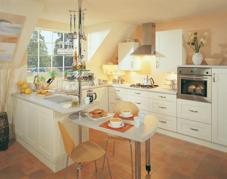Барная стойка-трасформер на угловой кухне