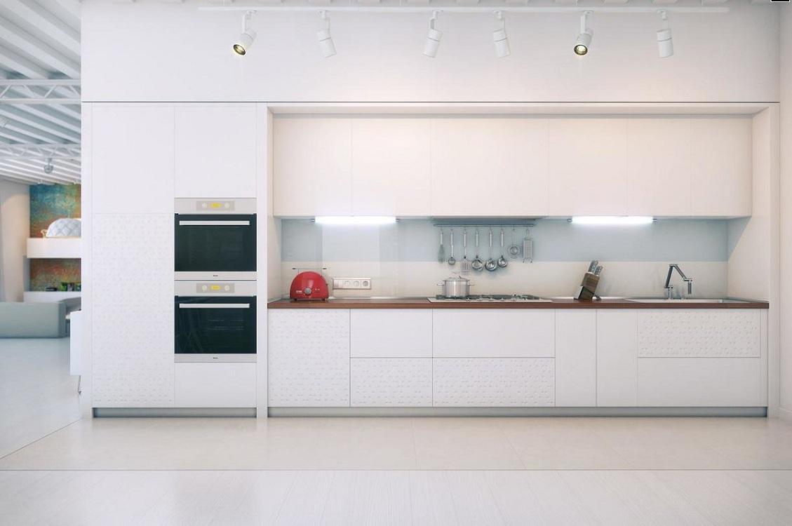 Белая глянцевая кухня с линейной планировкой