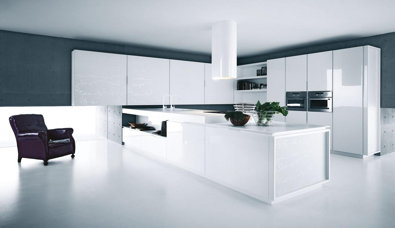 Белая глянцевая кухня в стиле минимализм