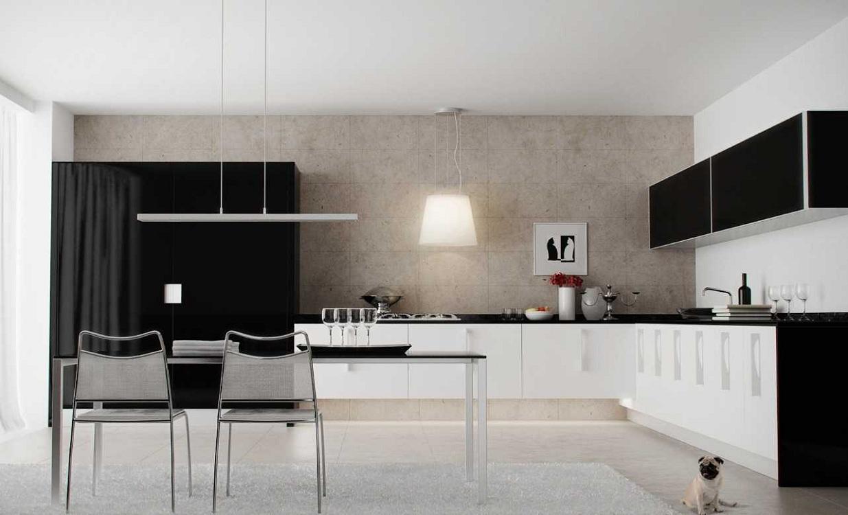 Белый низ и черный верх на кухне