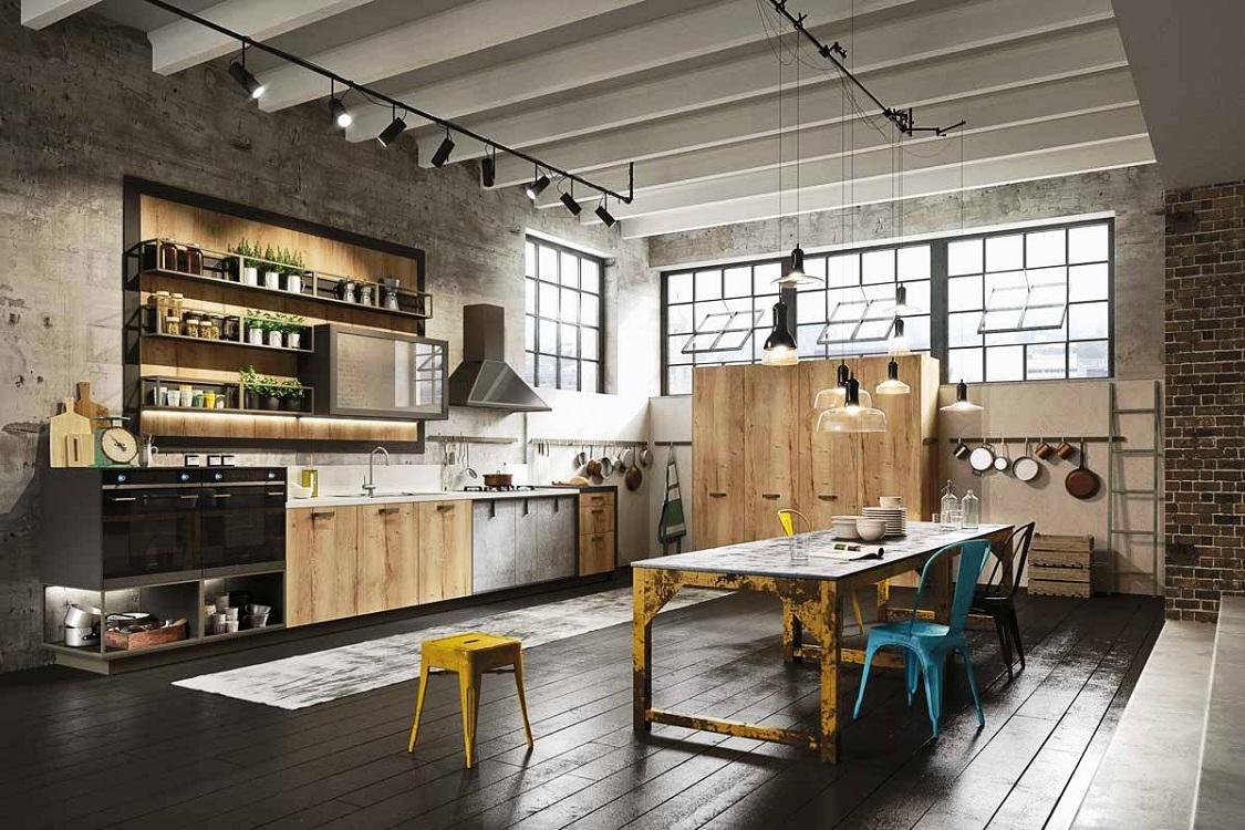 Бежевая кухня в стиле лофт