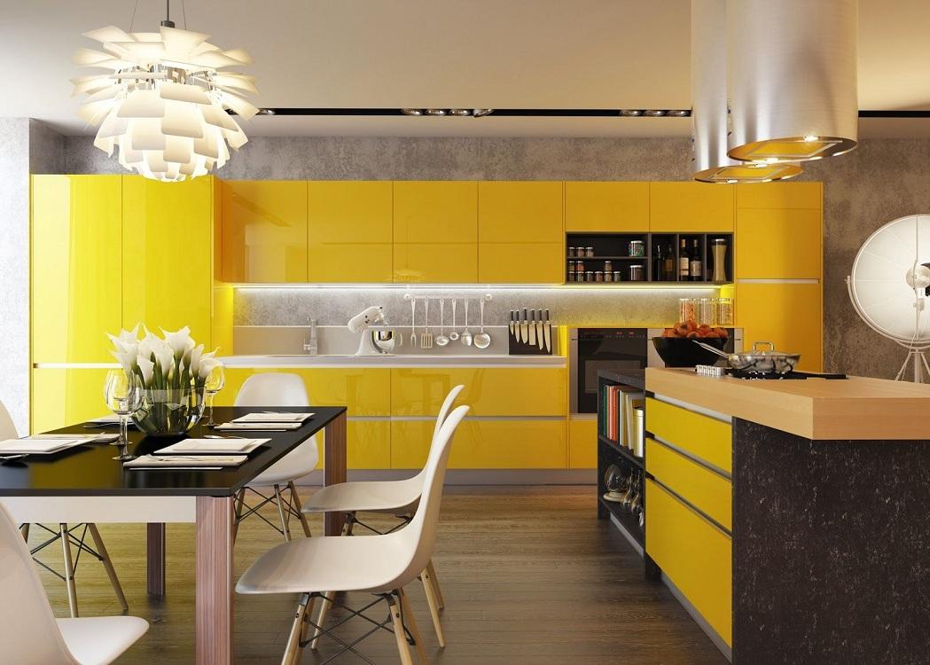 Бежево-желтая кухня