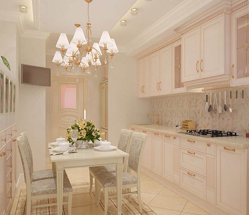 Бледно-розовая кухня