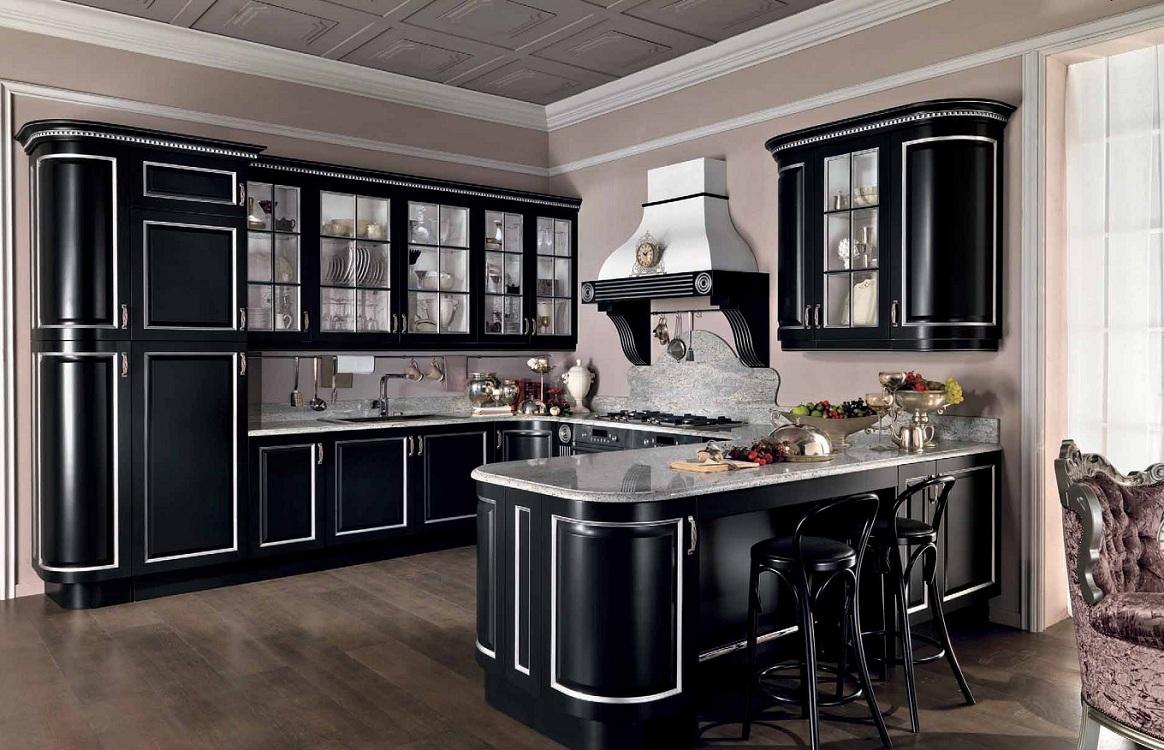Черная кухня в классическом стиле