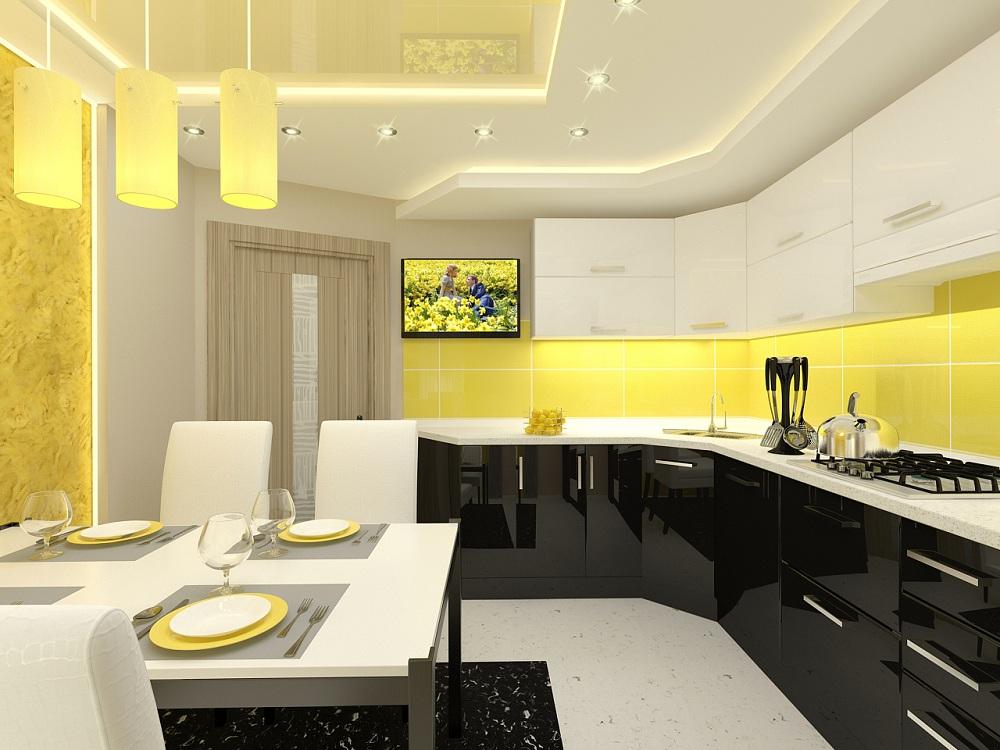 Черно-белая кухня с желтым акцентом