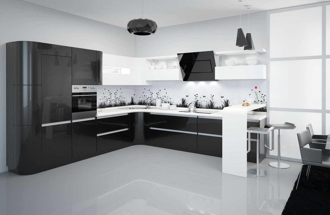 Черно-белый фартук на кухне
