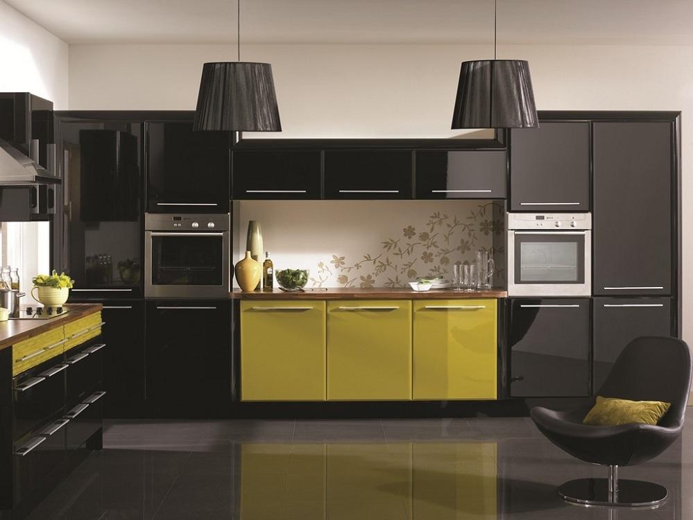 Черно-зеленая кухня