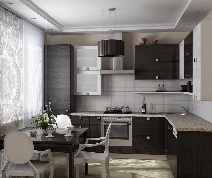 Черный цвет в маленькой кухне