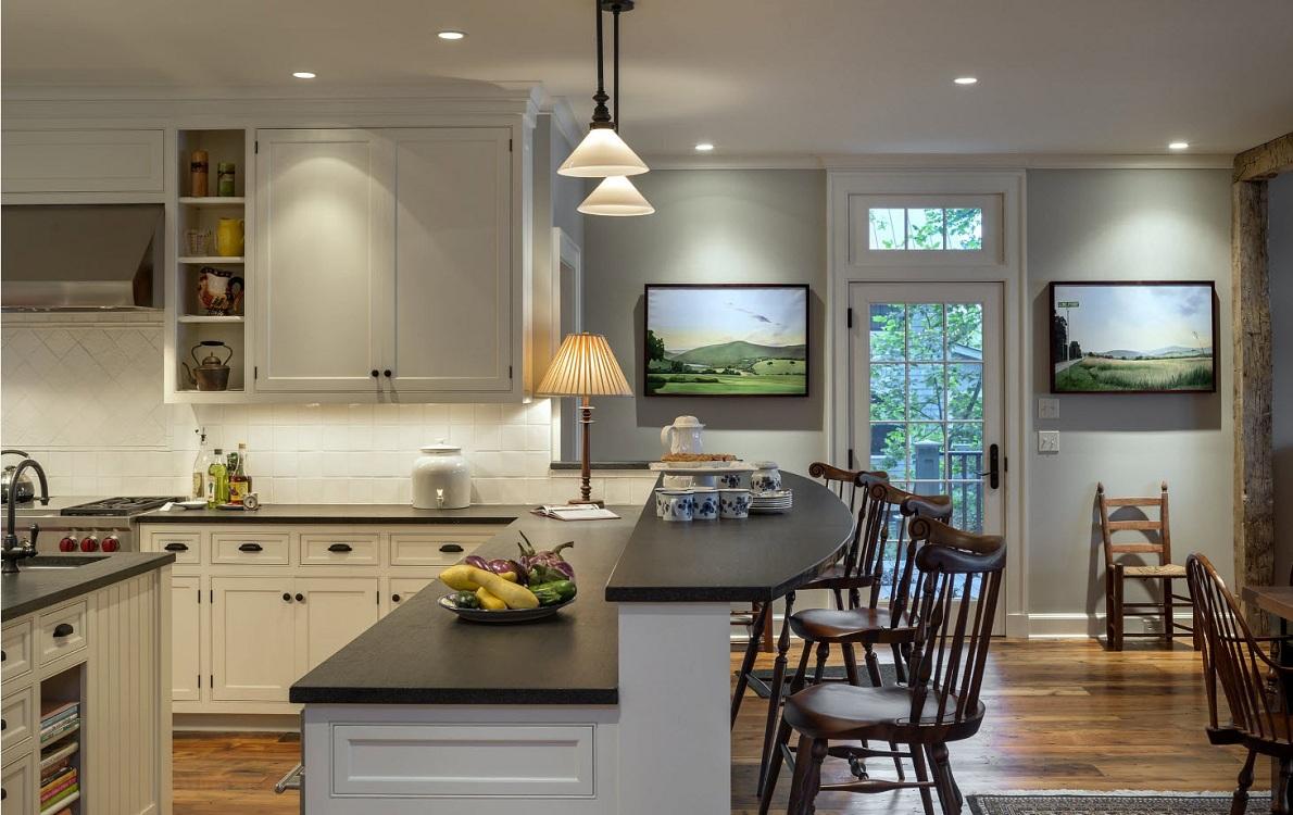 Двухуровневая барная стойка на угловой кухне