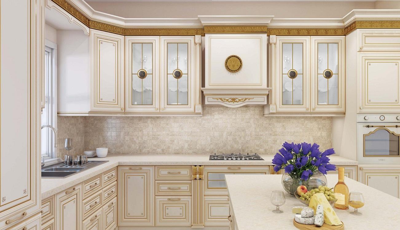 Фартук и столешница для кухни цвета айвори