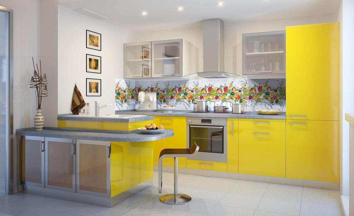 Фартук и столешница для лимонной кухни