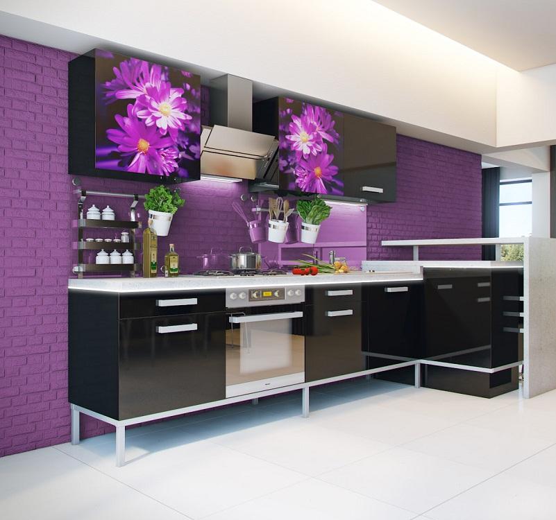Фиолетово-черная кухня
