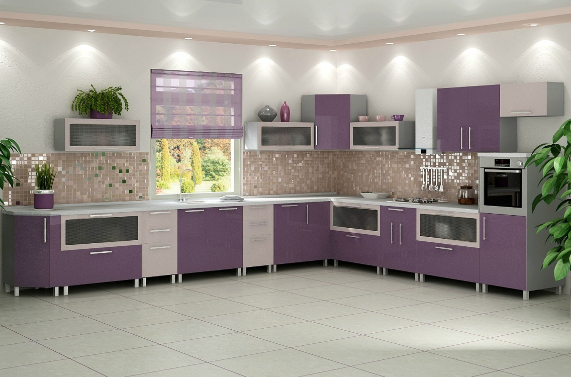 Фиолетово-серая кухня