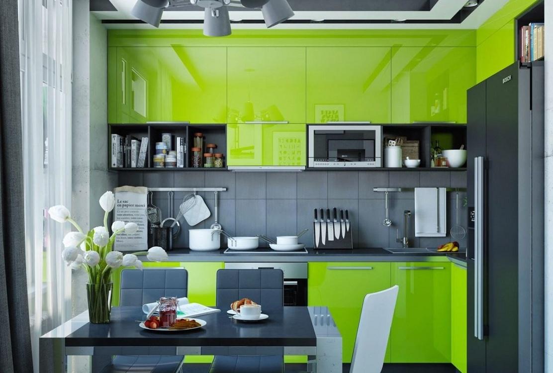 Кухня в зеленом цвете, допустимые сочетания с другими цветами, подбор фурнитуры, штор, обоев, пола