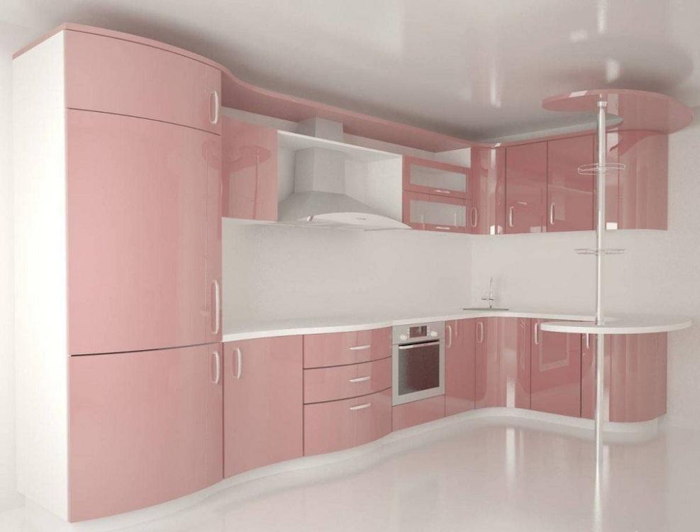 Глянцевая розовая кухня