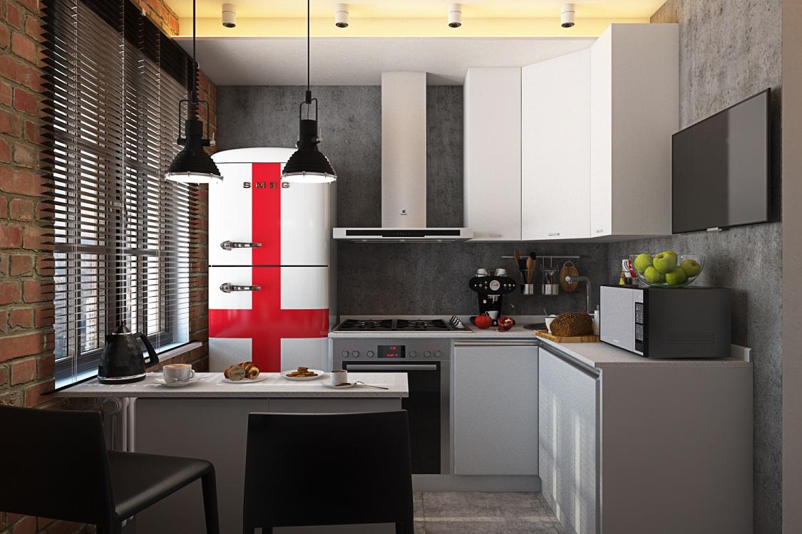 Холодильник для кухни в стиле лофт