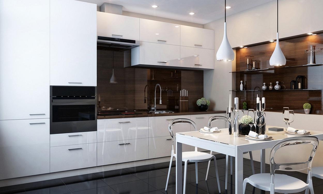 Контрастные цветовые решения на белой глянцевой кухне