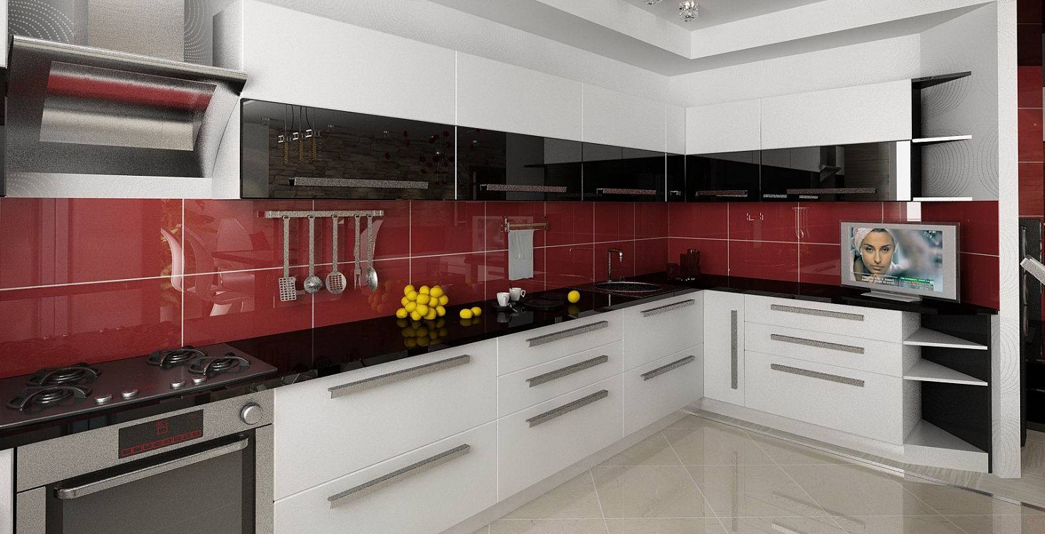Красные акценты на черно-белой кухне