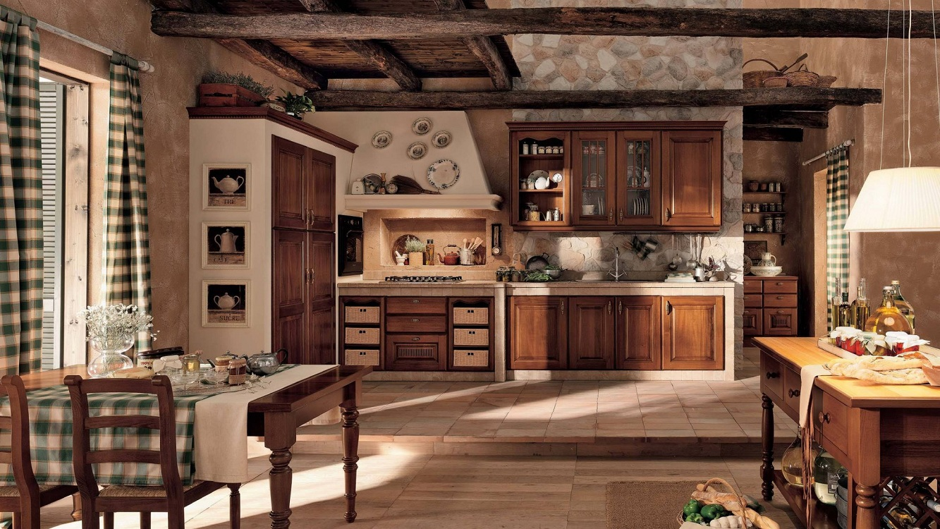 Кухни из дерева в стиле кантри