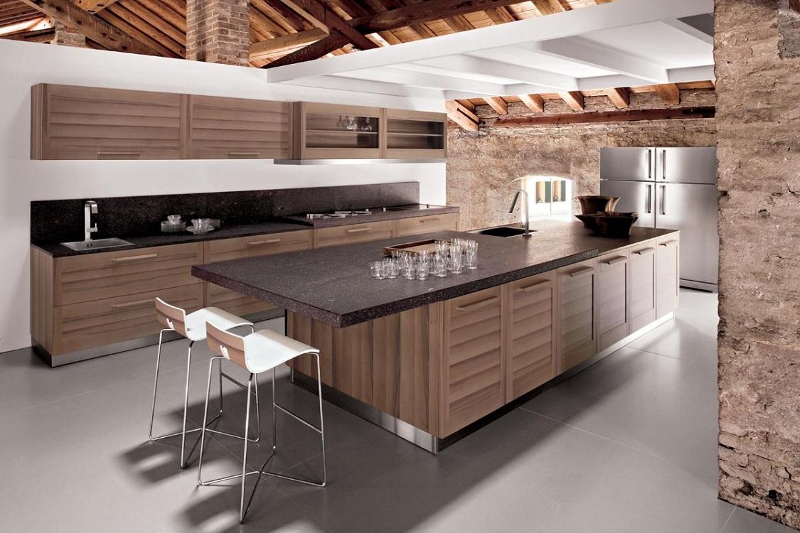 Кухни из дерева в стиле модерн