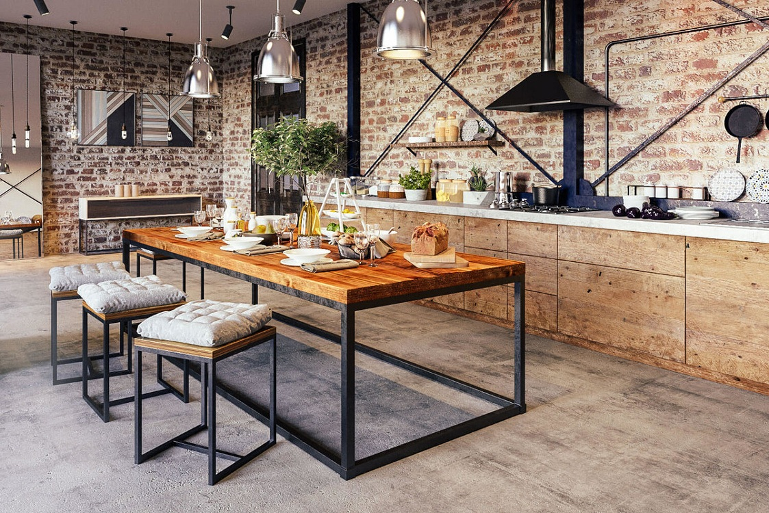 Кухня из дерева в стиле лофт