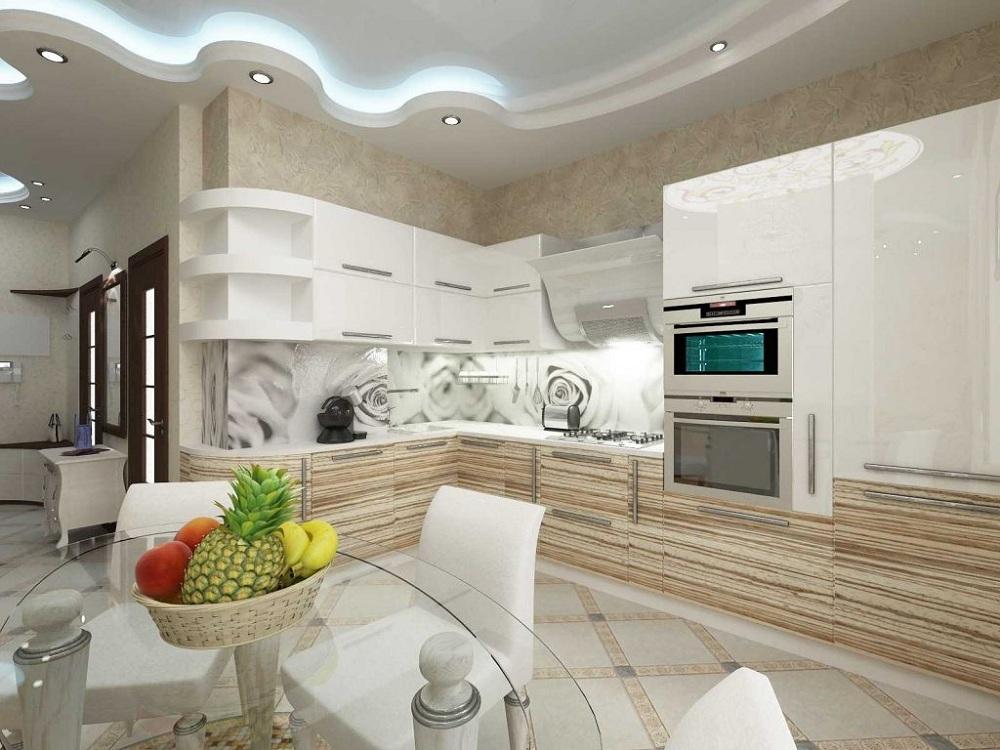 Кухня в оттенке светлый зебрано
