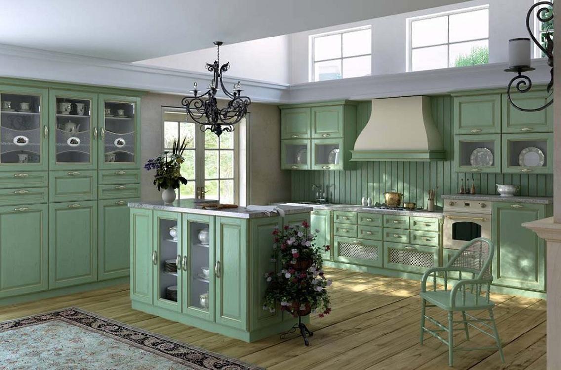 Кухня в стиле прованс в фисташковом цвете