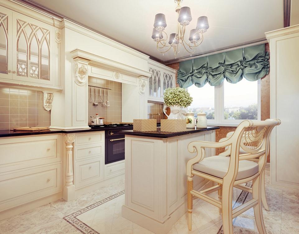 Кухонные короткие шторы из шелка
