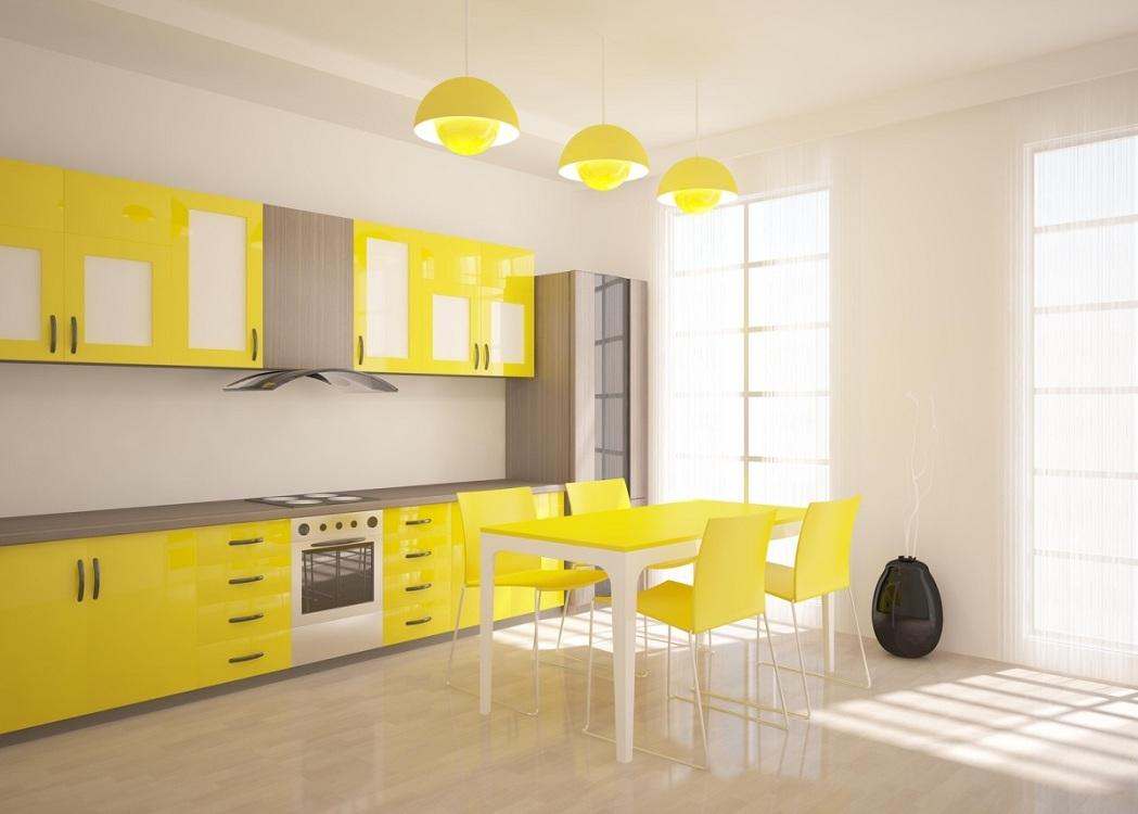 Лимонно-бежевая кухня