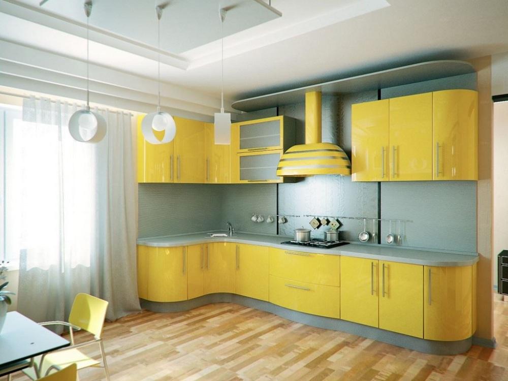 Лимонно-голубая кухня
