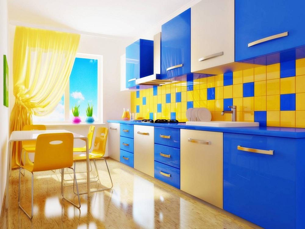 Лимонно-синяя кухня