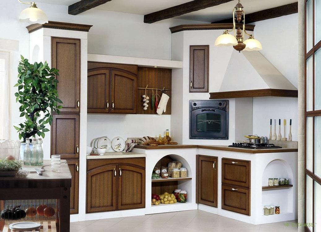 Маленькая угловая кухня в стиле кантри