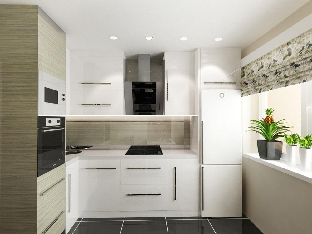 Маленькая угловая кухня в стиле минимализм