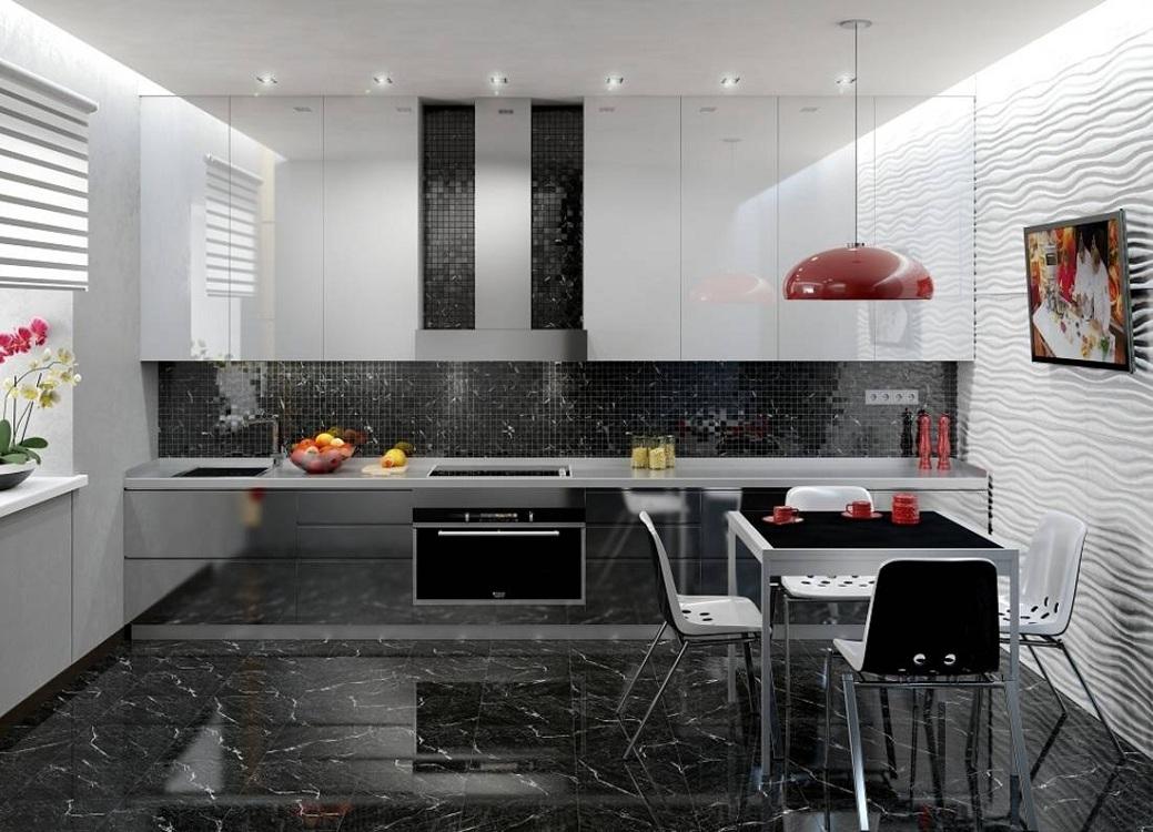 Мебель для черно-белой кухни
