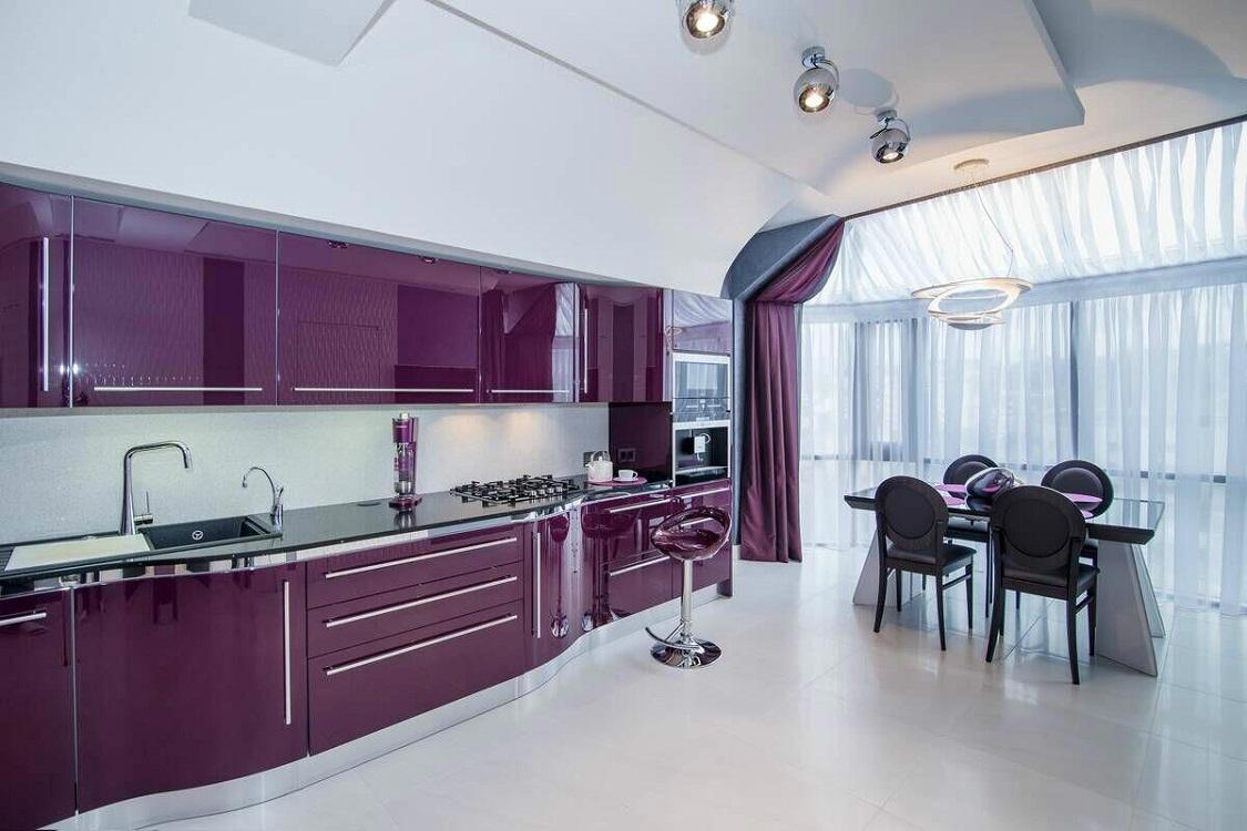 Мебель для фиолетовой кухни