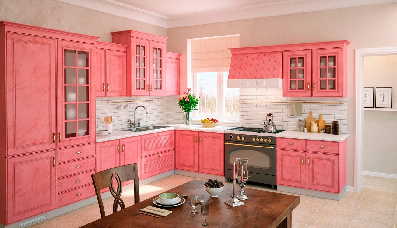 Мебель для розовой кухни