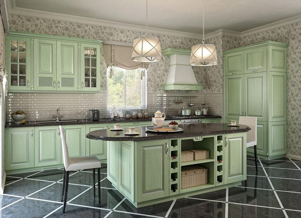 Напольное покрытие для зеленой кухни
