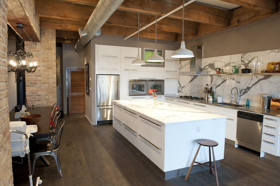Напольное покрытие кухни в стиле лофт