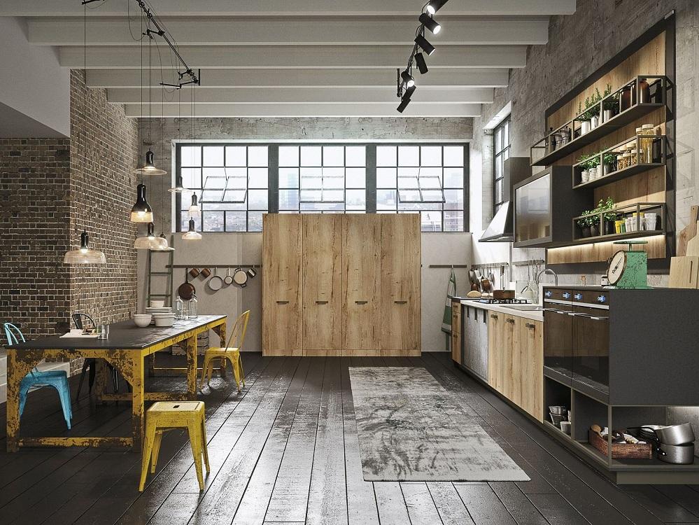 Обеденная зона на кухне в стиле лофт