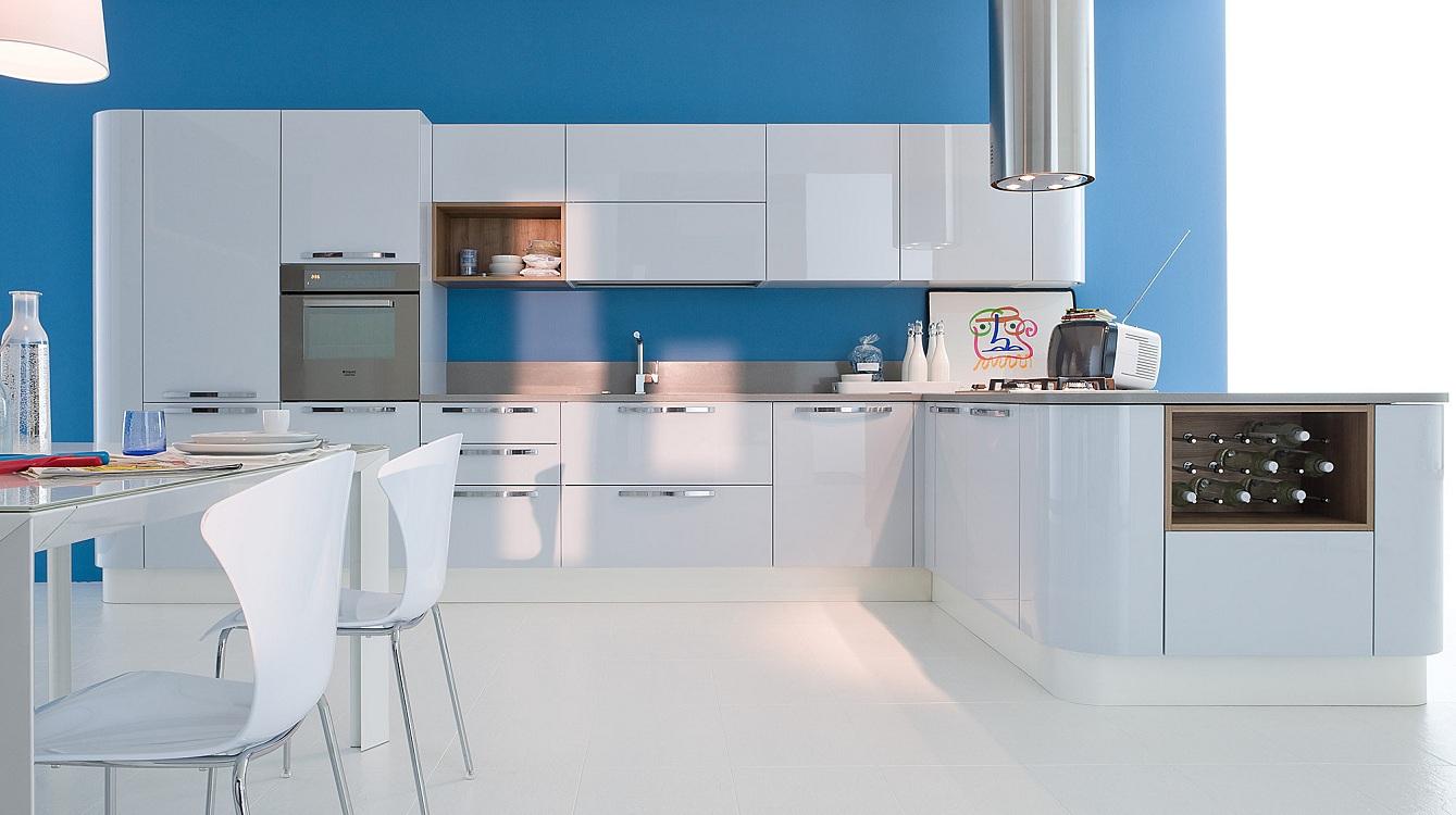 Обои для белых глянцевых кухонь