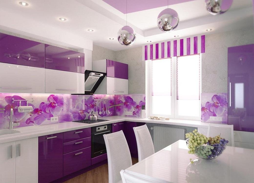 Оформление интерьера кухни в фиолетовом цвете
