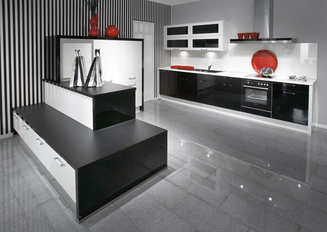 Оформление стен для черной кухни