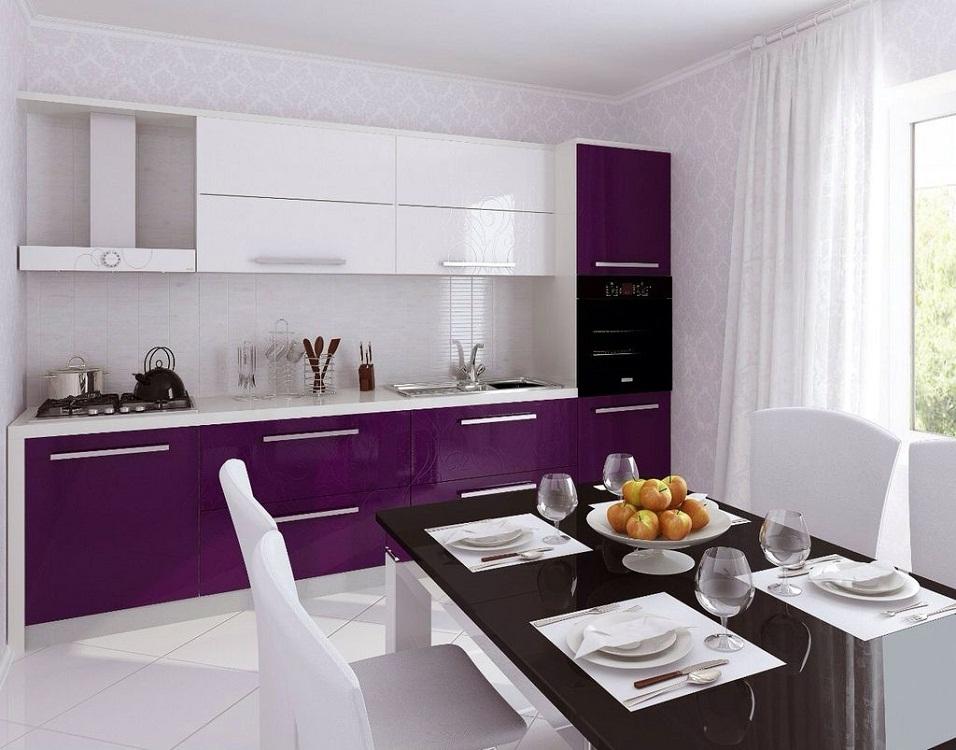 Оформление стен для фиолетовой кухни