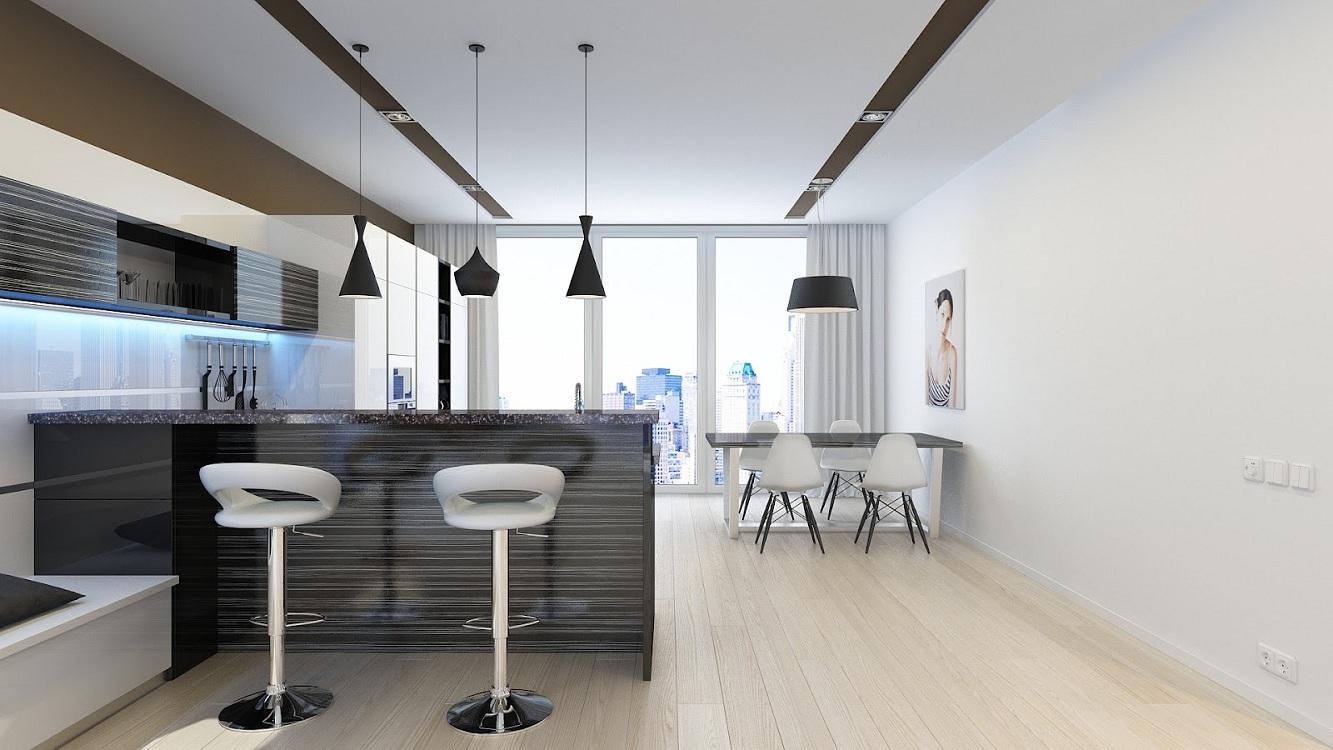Оформление стен для кухни в стиле минимализм