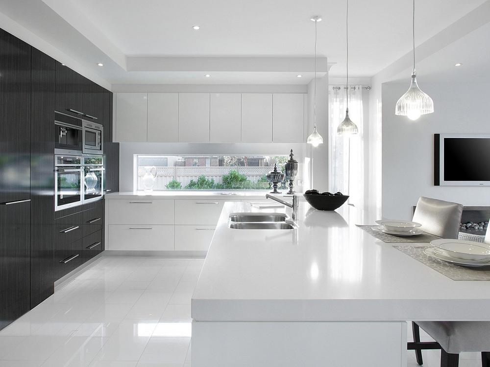 Освещение на черно-белой кухне