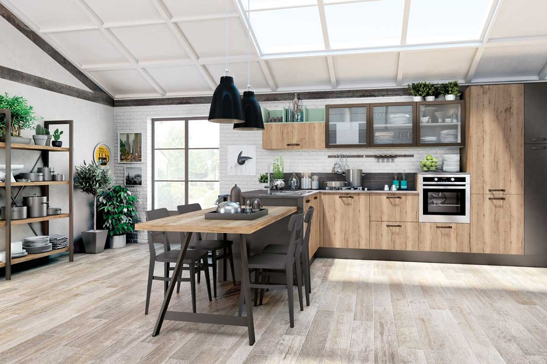 Оттенок дерева кухни в стиле лофт