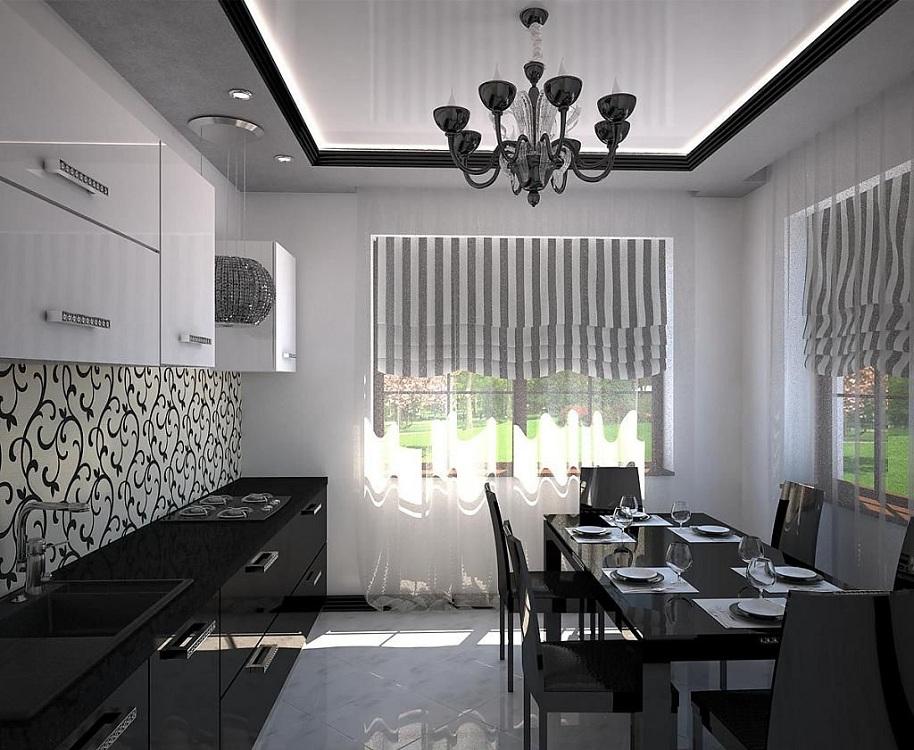Пол и потолок для черно-белой кухни