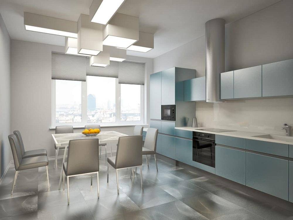 Пол и потолок для кухни в стиле минимализм