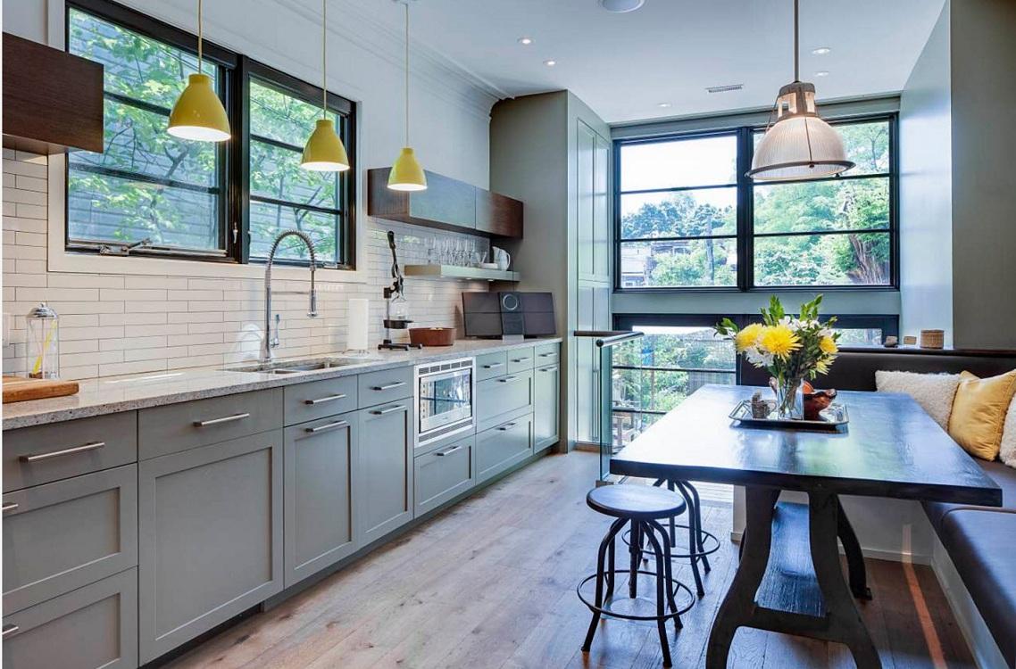 Пол и потолок для серой кухни