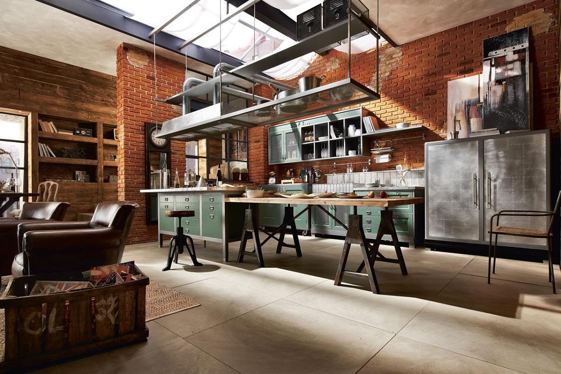 Потолок кухни в стиле лофт